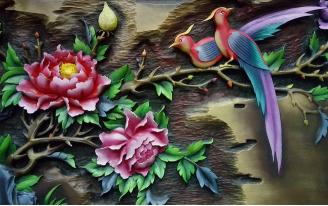Ветка с цветами и птицы