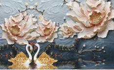 Лебеди и цветы