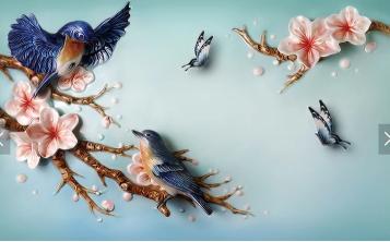 Пара птиц с бабочками