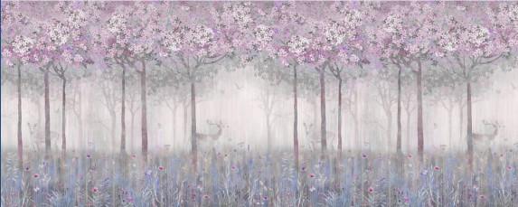 Цветущий сад с оленями