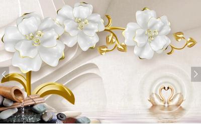 Белые цветы и лебеди