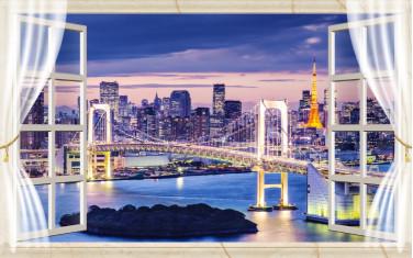 Вид из окна на красивый город