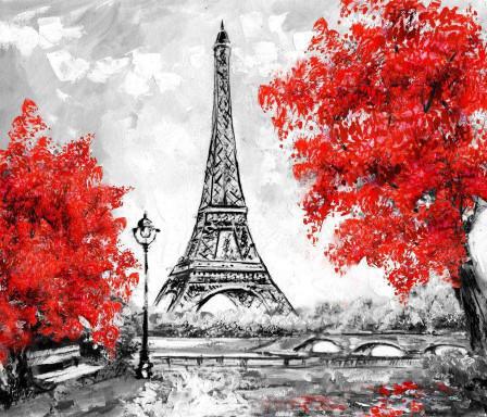 Эйфелева башня и красные деревья