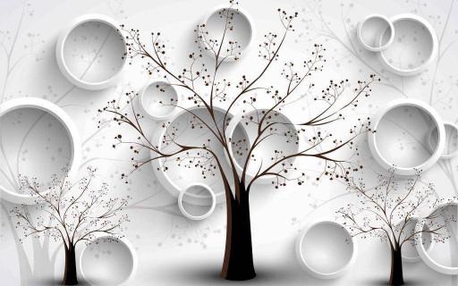 Дерево и белые круги