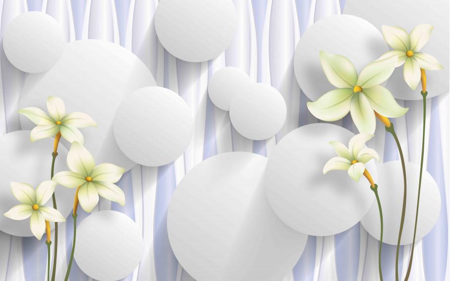 Белые нарциссы и шары