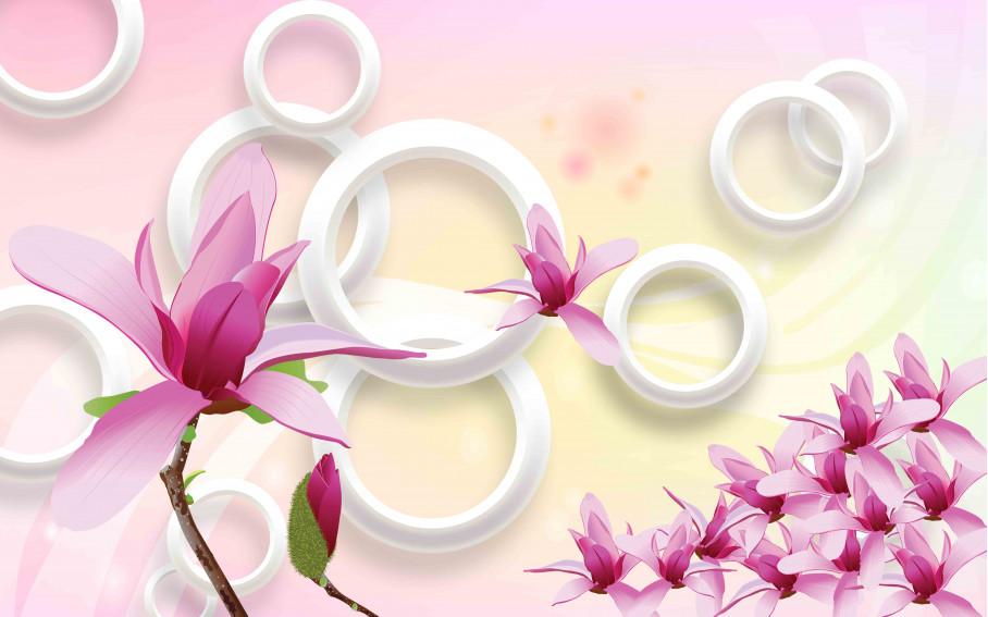 Белые круги и розовые цветы
