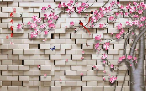 Стена с розовыми цветами