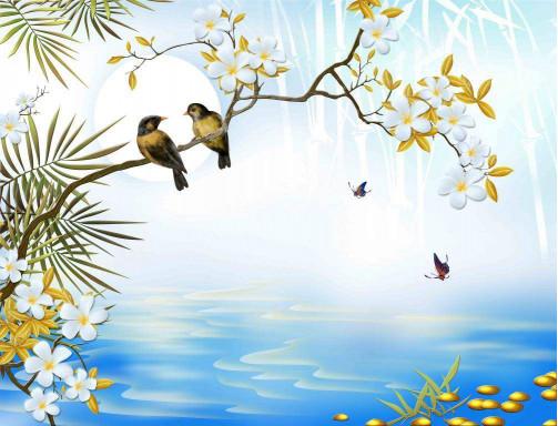 Цветущие деревья над водой