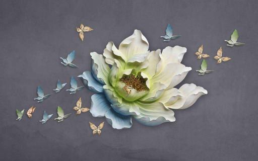 Встреча  бабочек  у большого цветка