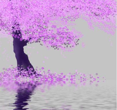 Розовое дерево и вода