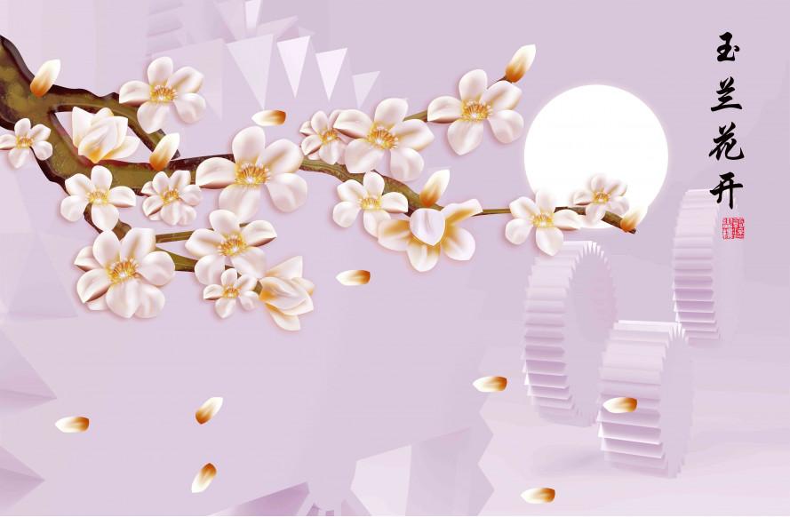 Шестерни и ветка цветов
