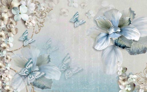 Голубые бабочки и цветы