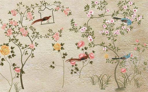 Птицы и дикие розы