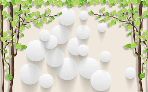 Деревья и белые шары