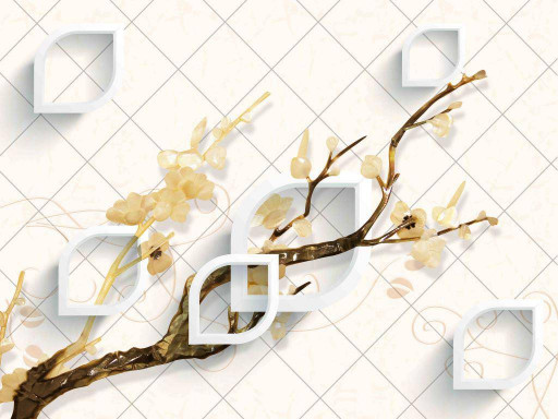 Ветка с цветами на плитке