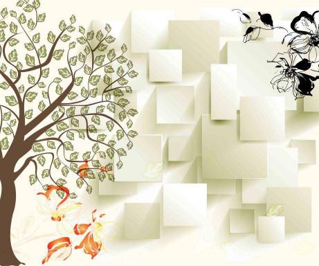 Дерево и белые квадраты