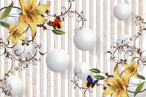 Жёлтые цветы с белыми шарами