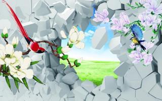 Кубики, цветы, птицы