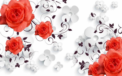 Красные розы с капельками