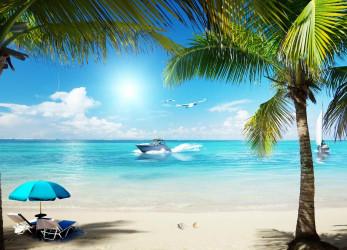 Пляж, море, катер