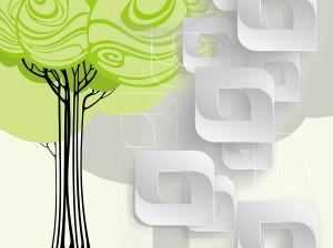 Дерево и белые фигуры
