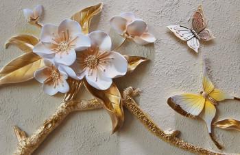 Ветка вишни и бабочки