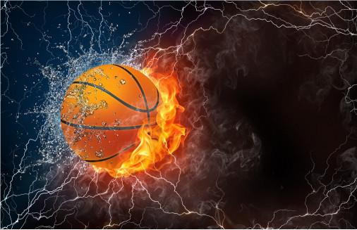 Баскетбольный мяч в огне